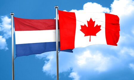 netherlands flag: Netherlands flag with Canada flag, 3D rendering Stock Photo
