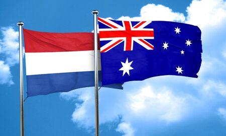 netherlands flag: Netherlands flag with Australia flag, 3D rendering