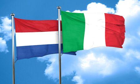 italian politics: Netherlands flag with Italy flag, 3D rendering Stock Photo