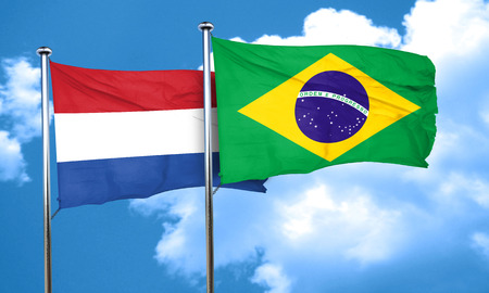 netherlands flag: Netherlands flag with Brazil flag, 3D rendering