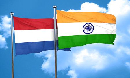 netherlands flag: Netherlands flag with India flag, 3D rendering