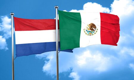 flag of netherlands: Netherlands flag with Mexico flag, 3D rendering