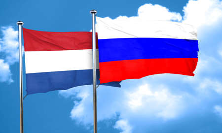 netherlands flag: Netherlands flag with Russia flag, 3D rendering