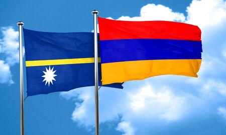 nauru: Nauru flag with Armenia flag, 3D rendering