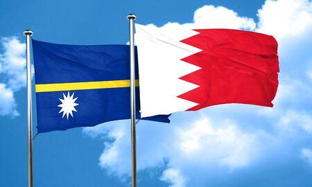 nauru: Nauru flag with Bahrain flag, 3D rendering