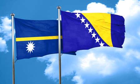 bosnia and herzegovina flag: Nauru flag with Bosnia and Herzegovina flag, 3D rendering