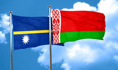 belarus: Nauru flag with Belarus flag, 3D rendering