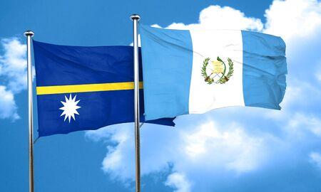 guatemalan: Nauru flag with Guatemala flag, 3D rendering