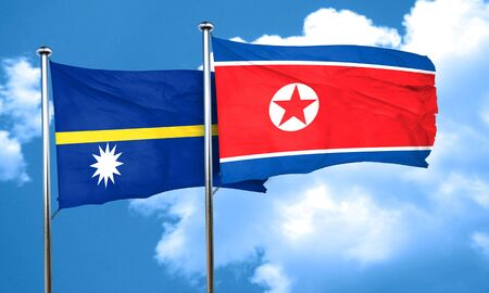 nauru: Nauru flag with North Korea flag, 3D rendering Stock Photo