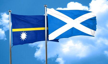 nauru: Nauru flag with Scotland flag, 3D rendering Stock Photo