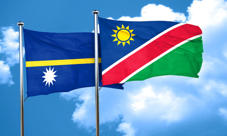 namibia: Nauru flag with Namibia flag, 3D rendering Stock Photo