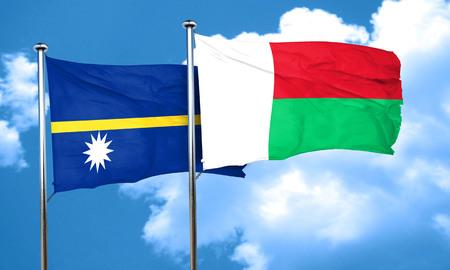 madagascar: Nauru flag with Madagascar flag, 3D rendering