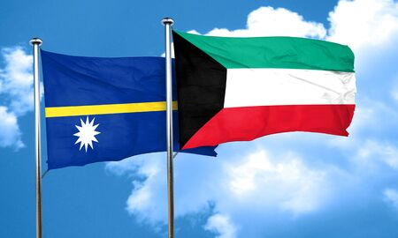 nauru: Nauru flag with Kuwait flag, 3D rendering Stock Photo