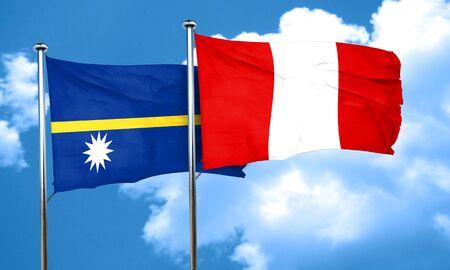 nauru: Nauru flag with Peru flag, 3D rendering