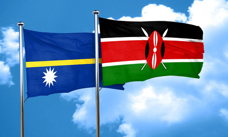 nauru: Nauru flag with Kenya flag, 3D rendering