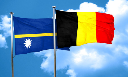nauru: Nauru flag with Belgium flag, 3D rendering