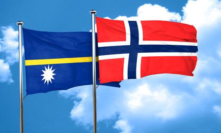 norway flag: Nauru flag with Norway flag, 3D rendering