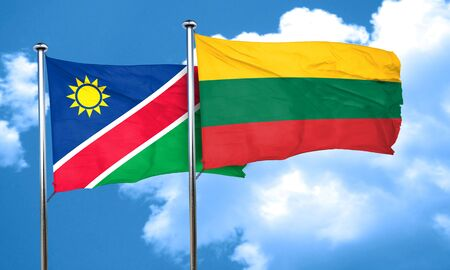 lithuania: Namibia flag with Lithuania flag, 3D rendering