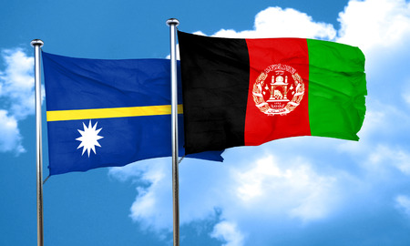 nauru: Nauru flag with afghanistan flag, 3D rendering