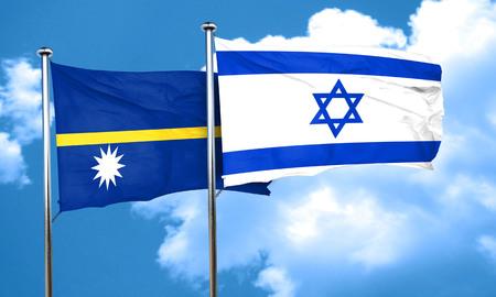 nauru: Nauru flag with Israel flag, 3D rendering Stock Photo