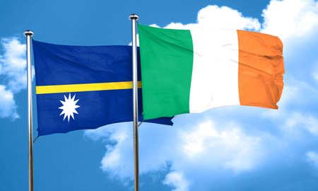 nauru: Nauru flag with Ireland flag, 3D rendering Stock Photo