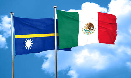 nauru: Nauru flag with Mexico flag, 3D rendering