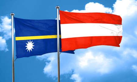 nauru: Nauru flag with Austria flag, 3D rendering