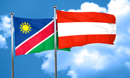austria flag: Namibia flag with Austria flag, 3D rendering