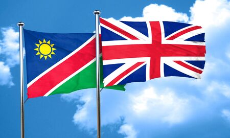 britain flag: Namibia flag with Great Britain flag, 3D rendering