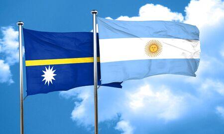 argentine: Nauru flag with Argentine flag, 3D rendering Stock Photo