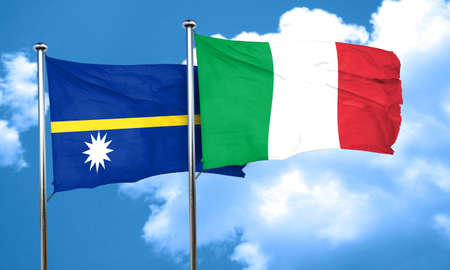 nauru: Nauru flag with Italy flag, 3D rendering
