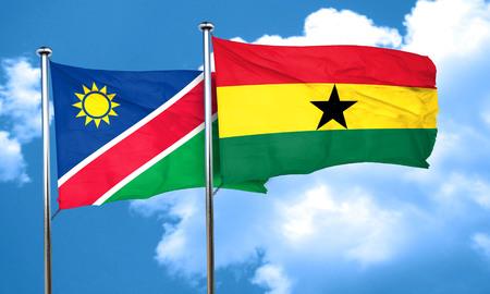 ghanese: Namibia flag with Ghana flag, 3D rendering
