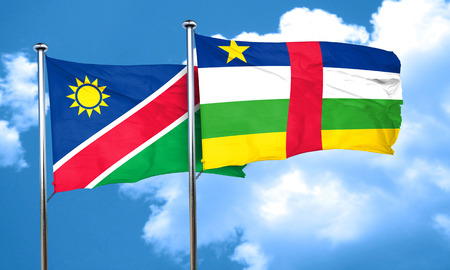 central african republic: Namibia flag with Central African Republic flag, 3D rendering