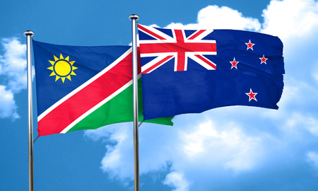 namibia: Namibia flag with New Zealand flag, 3D rendering