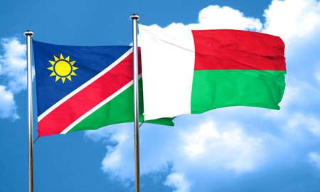 madagascar: Namibia flag with Madagascar flag, 3D rendering