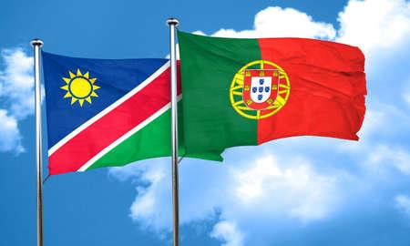 drapeau portugal: drapeau de la Namibie avec le Portugal drapeau, rendu 3D Banque d'images