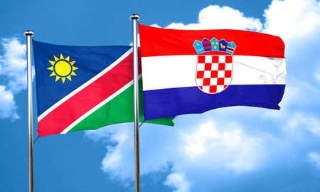 bandera croacia: Namibia flag with Croatia flag, 3D rendering Foto de archivo