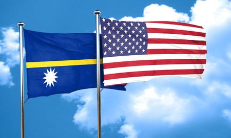 nauru: Nauru flag with American flag, 3D rendering