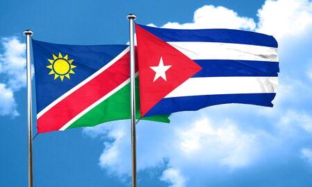 cuba flag: Namibia flag with cuba flag, 3D rendering