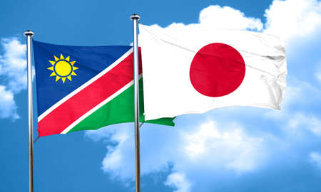 namibia: Namibia flag with Japan flag, 3D rendering