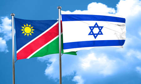 israel flag: Namibia flag with Israel flag, 3D rendering Stock Photo