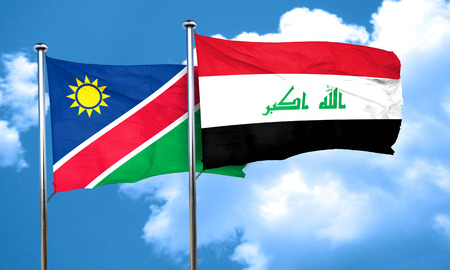 iraq: Namibia flag with Iraq flag, 3D rendering