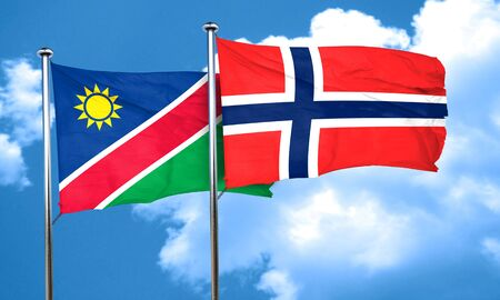 norway flag: Namibia flag with Norway flag, 3D rendering