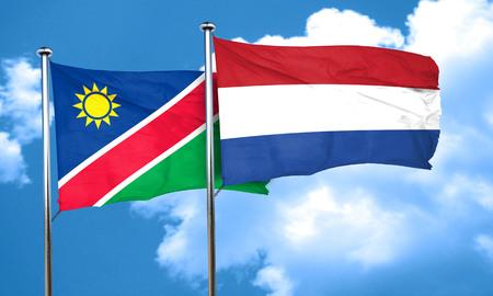 netherlands flag: Namibia flag with Netherlands flag, 3D rendering Stock Photo