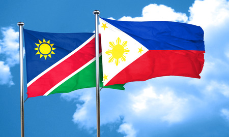 philippino: Namibia flag with Philippines flag, 3D rendering