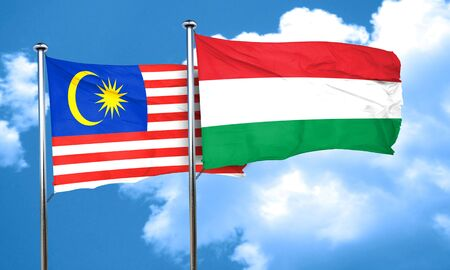 hungary: Malaysia flag with Hungary flag, 3D rendering