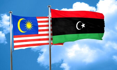 libya: Malaysia flag with Libya flag, 3D rendering Stock Photo