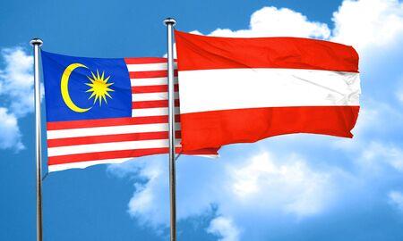 austria flag: Malaysia flag with Austria flag, 3D rendering