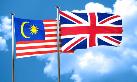 great britain flag: Malaysia flag with Great Britain flag, 3D rendering
