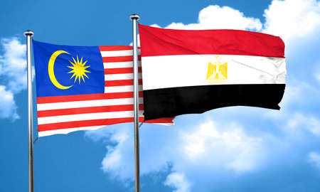 egypt flag: Malaysia flag with egypt flag, 3D rendering